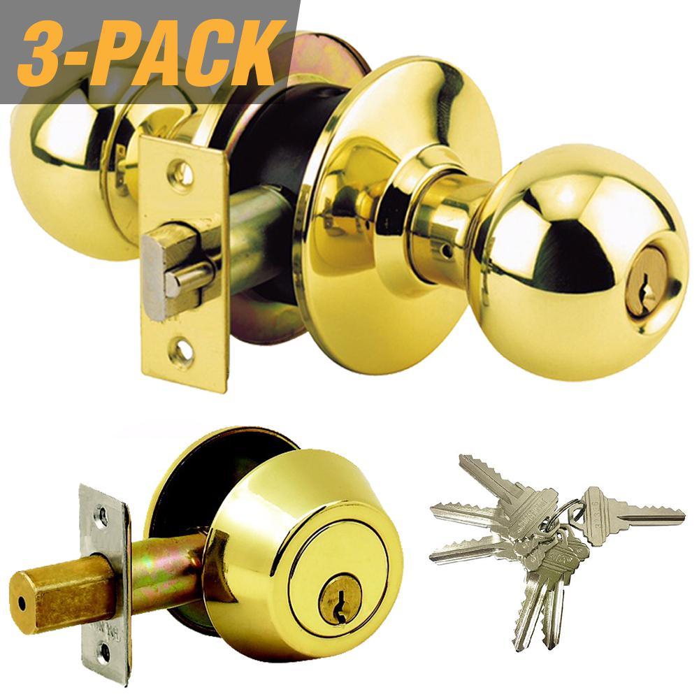 Brass Grade 3 Combo Lock Set with Entry Door Knob and Deadbolt, 18 SC1 Keys Total, (3-Pack, Keyed Alike)