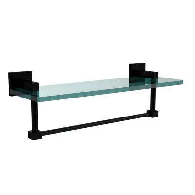 Montero 16 in. L  x 5-1/4 in. H  x 5-3/4 in. W Clear Glass Vanity Bathroom Shelf with Towel Bar in Matte Black