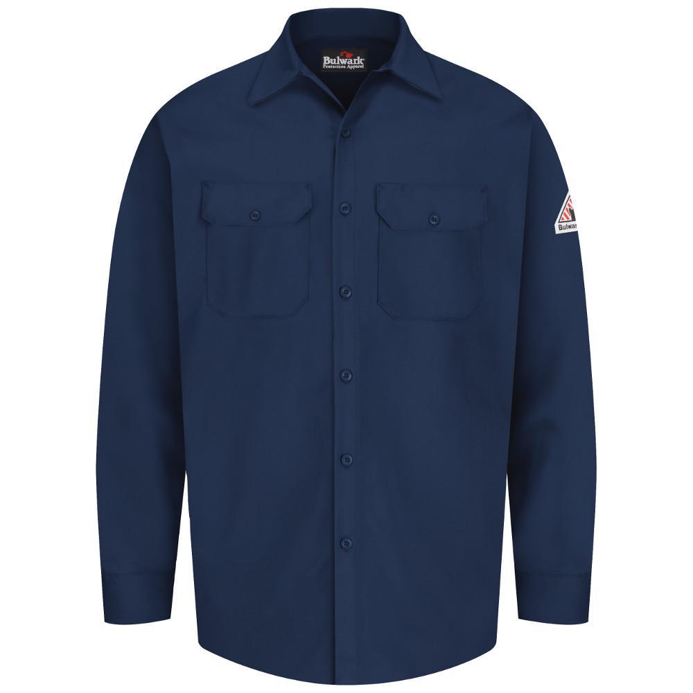 Bulwark excel fr men 39 s 2x large tall navy work shirt for Mens xxl tall dress shirts