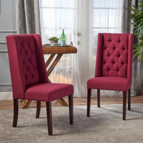 Blythe Deep Red and Brown Tufted Dining Chairs (Set of 2)