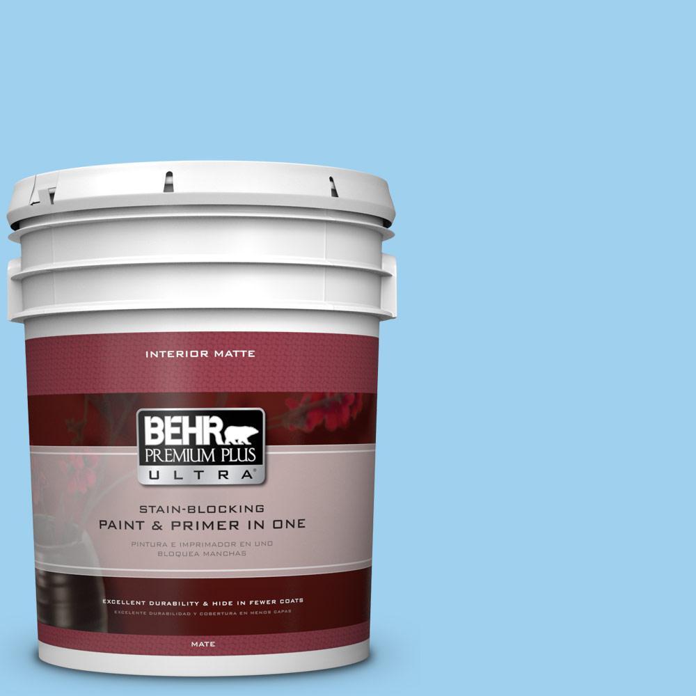 BEHR Premium Plus Ultra 5 gal. #P500-3 Spa Blue Matte Interior Paint and Primer in One