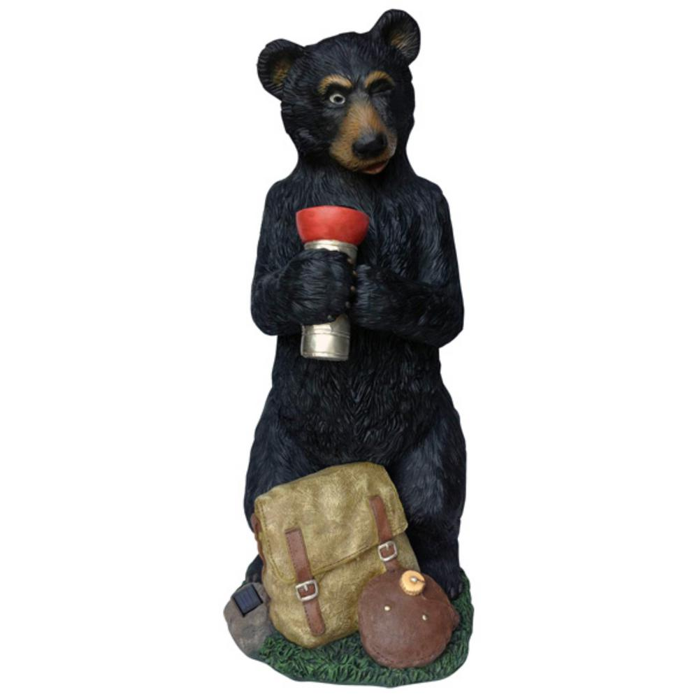 31.8 in. H Solar Powered LED Resin Bear Holding Flashlight