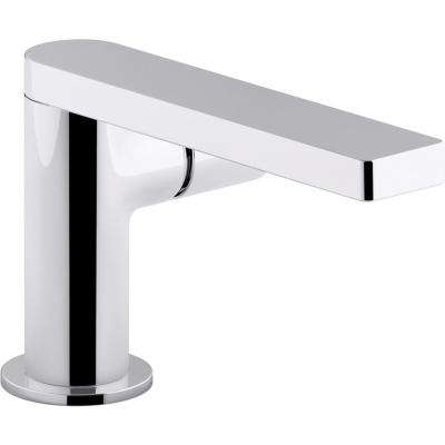 Composed Single Hole Single-Handle Bathroom Faucet with Cylindrical Handle and Drain in Polished Chrome