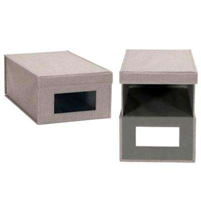 1-Pair Large Siler Linen Shoe Box with Drop Front Vision (2-Pack)