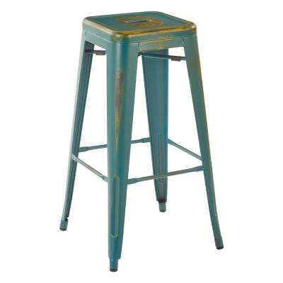 Bristow 30 in.  Antique Turquoise Metal Barstools (2-Pack)