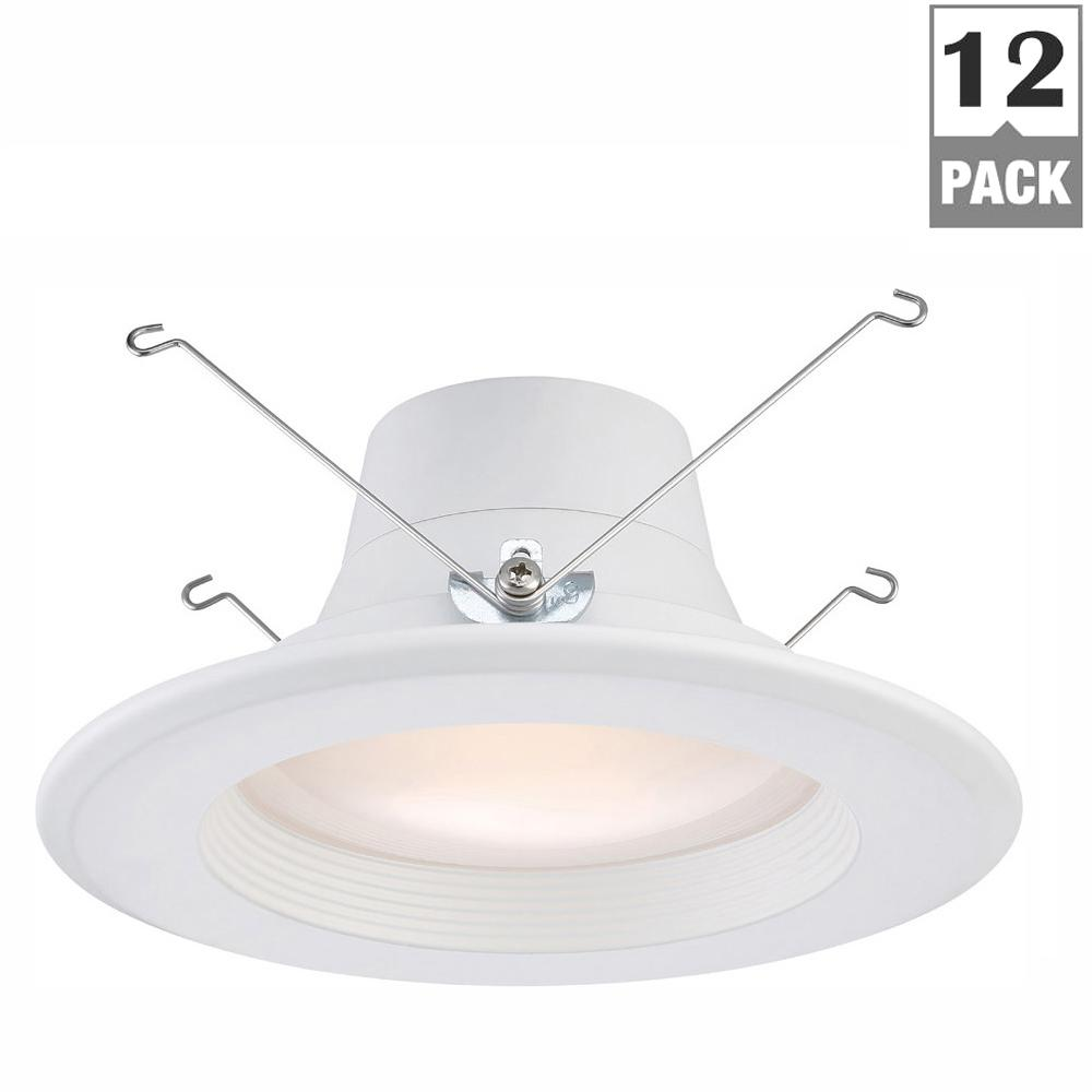 EnviroLite 6 in. and 5 in. 2700K Warm White Integrated LED Recessed Retrofit Baffle Trim (12-Pack) was $108.0 now $64.8 (40.0% off)