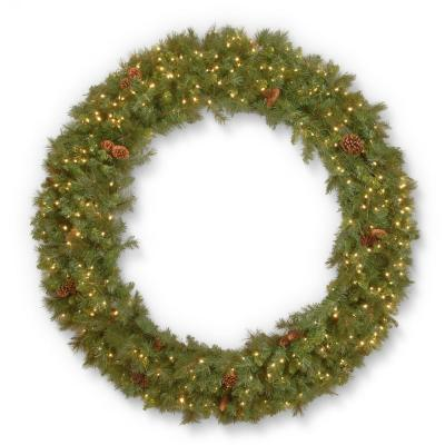 72 in. Garwood Spruce Wreath with Warm White LED Lights