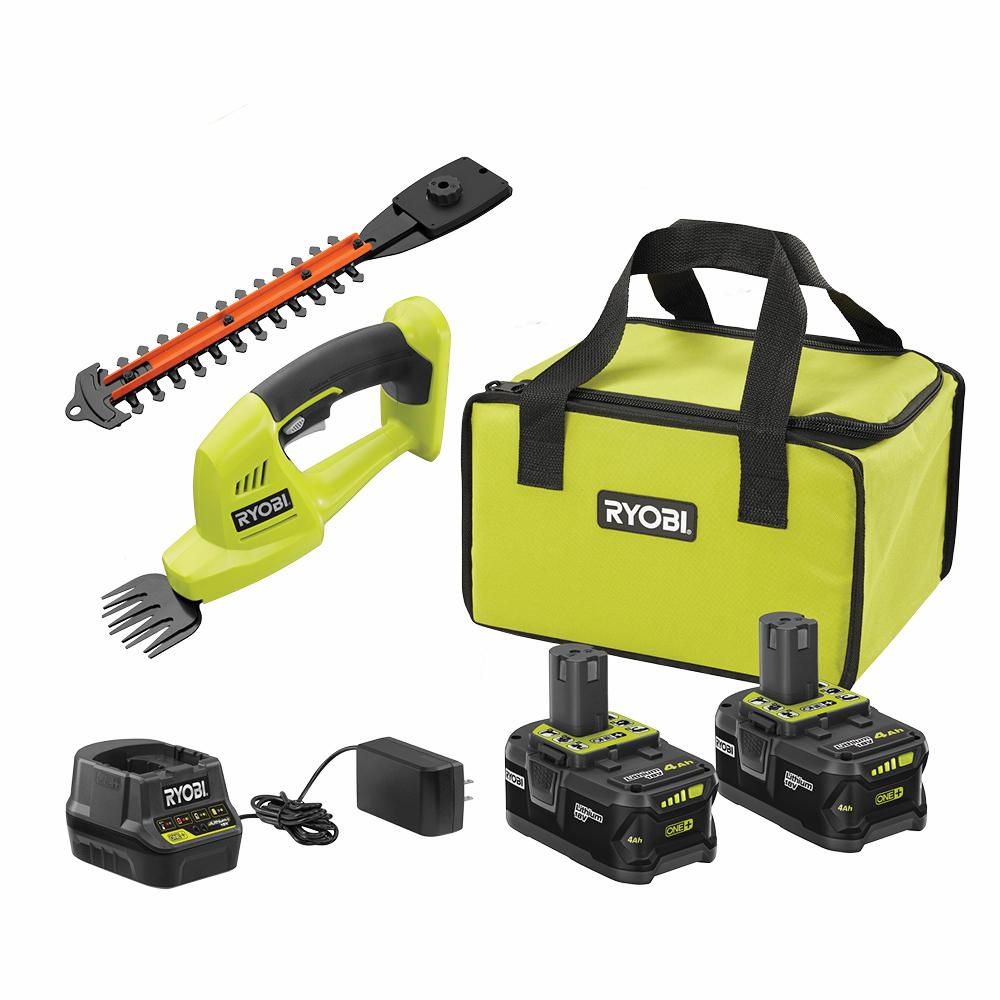 RYOBI 18-Volt ONE+ High Capacity 4.0 Ah Battery (2-Pack) Starter Kit with Charger and Bag w/ FREE ONE+ Shear/Shrubber Trimmer was $148.97 now $99.0 (34.0% off)
