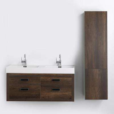 47.2 in. W x 19.3 in. H Bath Vanity in Brown with Resin Vanity Top in White with White Basin