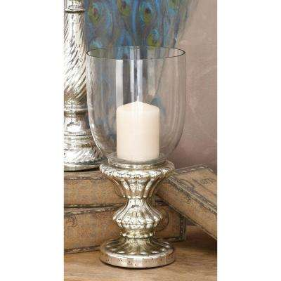 Tarnished Silver Glass Hurricane Candle Holder