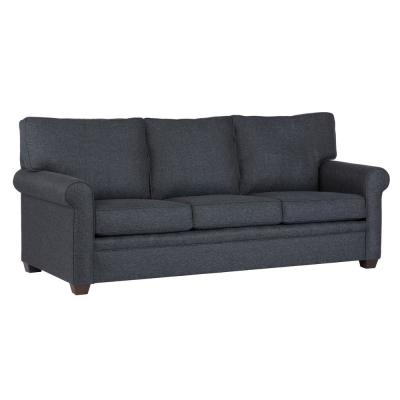 Baxter 89 in. Navy Revolution Fabric 3-Seater Queen Sleeper Sofa Bed with Round Arms