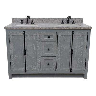 Plantation 55 In. W X 22 In. D Double Bath Vanity In Gray With