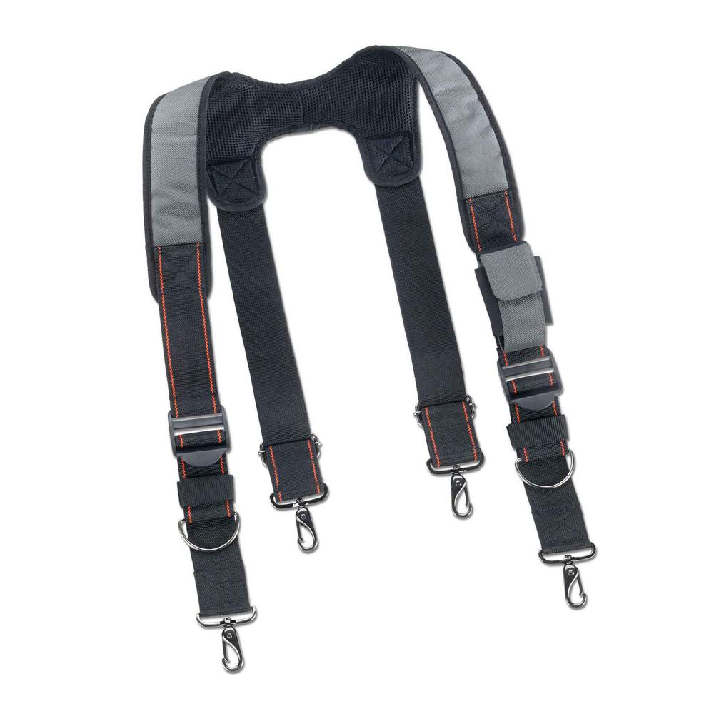 Ergodyne Men's Universal Sized Gray Polyester Padded Tool Belt Suspenders, Gray/Black The 5560 Padded Tool Belt Suspenders are made with gel shoulder pads with quick adjust suspenders and nickel-plated, spring-loaded, pivoting clips for easy attachment. Includes front pocket that can hold a cell phone or other items for easy access. These Tool Belt Suspenders are ideal for carpenters, electricians, contractors, finishing, framers and your everyday handyman. Color: Gray/Black. Gender: Male. Age Group: Adult. Material: Polyester.
