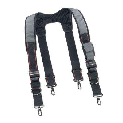 Men's Universal Sized Gray Polyester Padded Tool Belt Suspenders