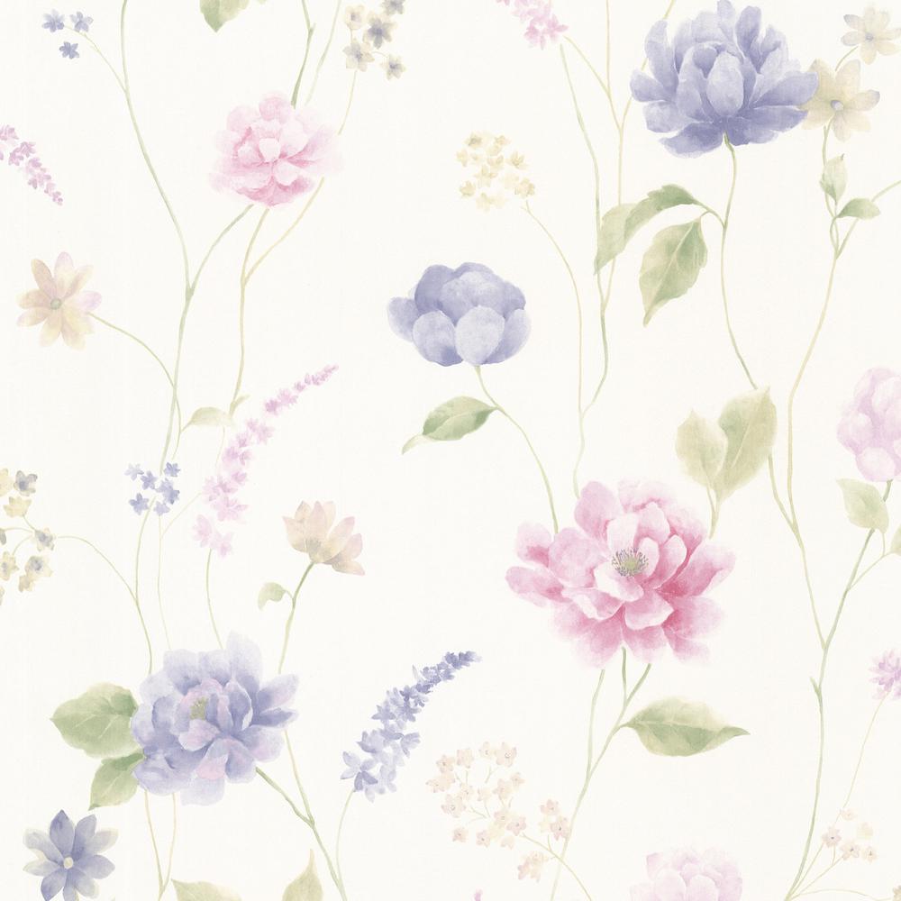 Brewster Hanne Blue Floral Pattern Wallpaper Sample 347 20108sam