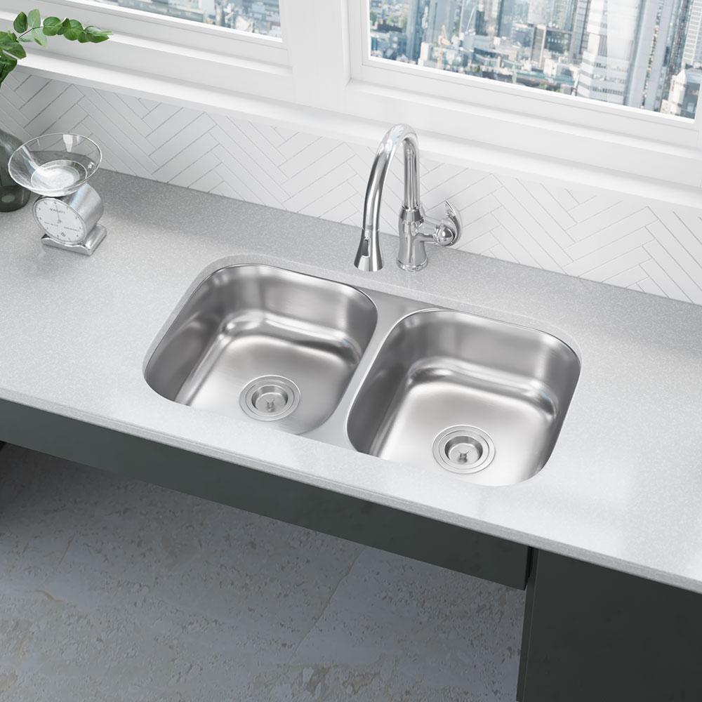 Rene Undermount Stainless Steel 32-1/4 in. Double Bowl Kitchen Sink