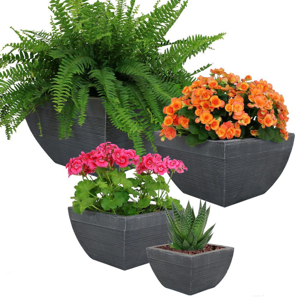 Set Residency Fiber Clay Modern Elongated Durable Indoor/Outdoor Planter Flower Pot 4-Piece