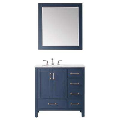 Gela 36 in. Vanity in Blue with Marble Vanity Top in White with White Basin and Mirror