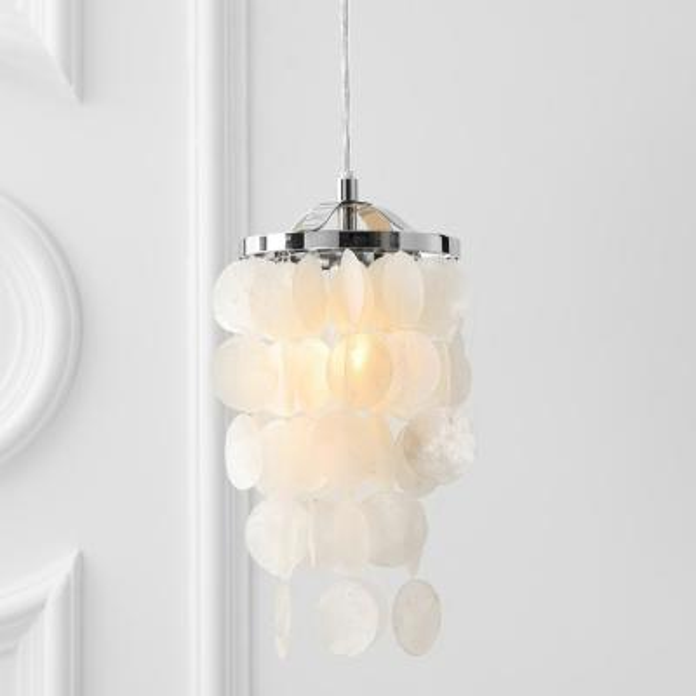 Cayla 1-Light 7 in. White/Chrome Seashell Chandelier Pendant