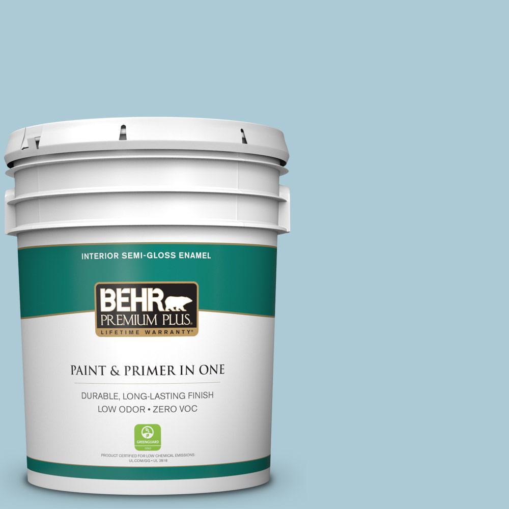 BEHR Premium Plus 5-gal. #S480-2 Sea Wind Semi-Gloss Enamel Interior Paint