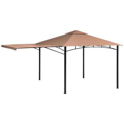 11 ft. D x 11 ft. W Redwood High-Quality Steel Gazebo in Bronze with Water-Resistant Cover and Seasonal Shade