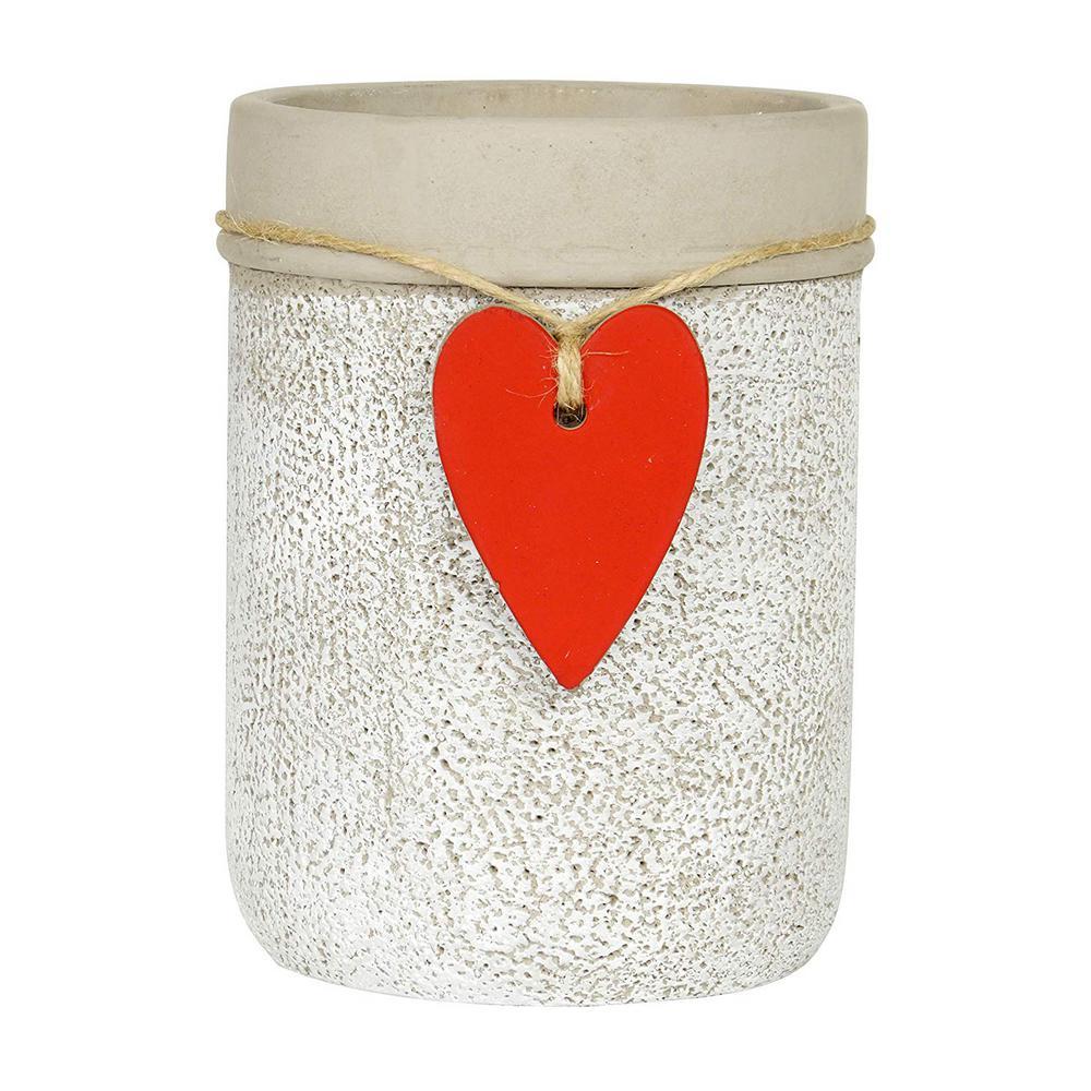 4.75 in. Whitewash Cement Heart Vase Planter