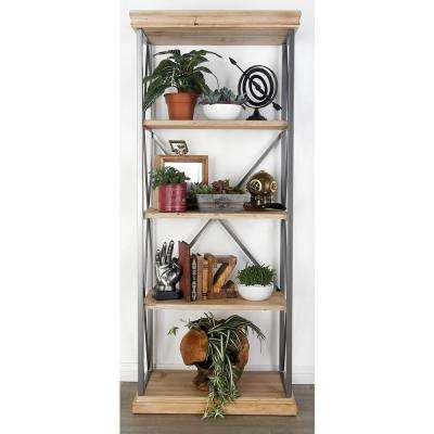 Light Brown 4-Tier Rectangular Wooden Shelf