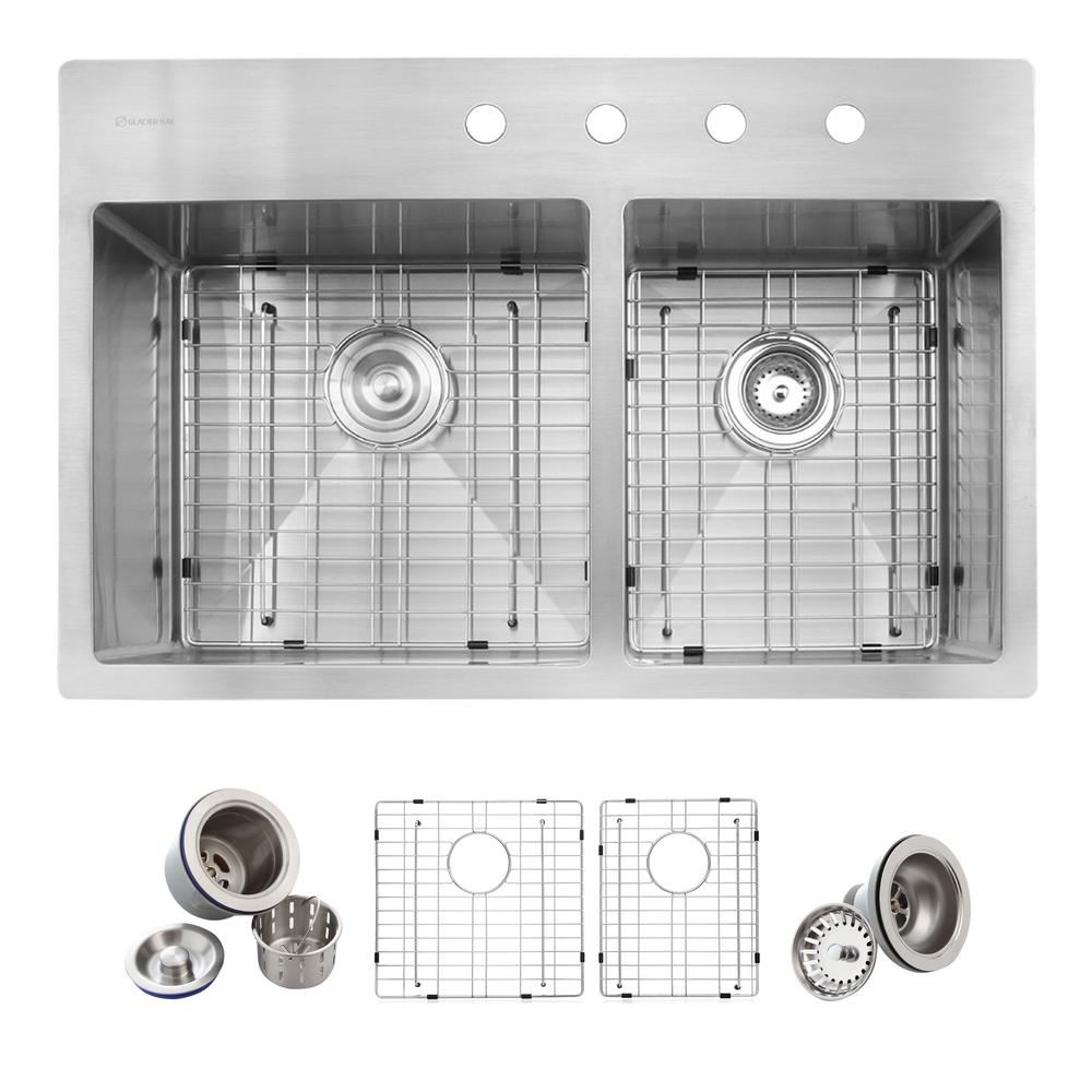 Glacier bay all in one drop in stainless steel 33 in 4 - Glacier bay drop in bathroom sink ...