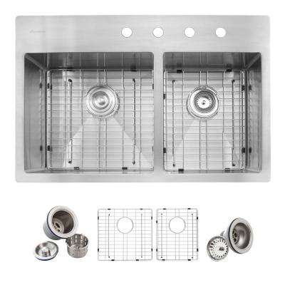 All-in-One Drop-in Stainless Steel 33 in. 4-Hole Double Bowl 60/40 Kitchen Sink in Satin