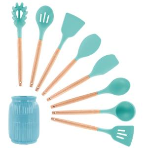 Light Teal Silicone and Wood Cooking Utensils (Set of 9)