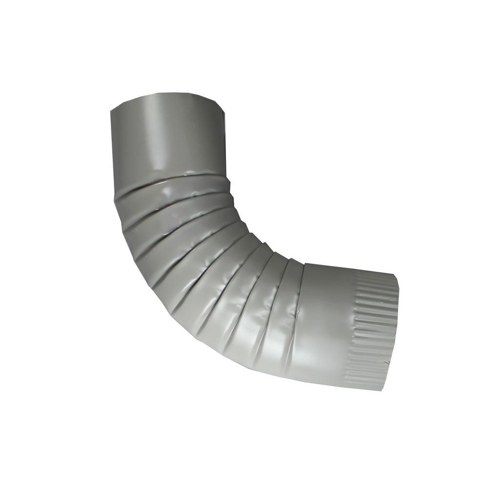 4 in. Round Dove Gray Aluminum Downpipe Elbow