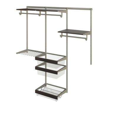 Closet Culture 16 in. D x 72 in. W x 78 in. H  with 3 Espresso Wood Shelves Steel Closet System