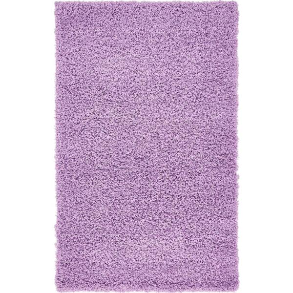 Solid Shag Lilac 3 ft. x 5 ft. Area Rug
