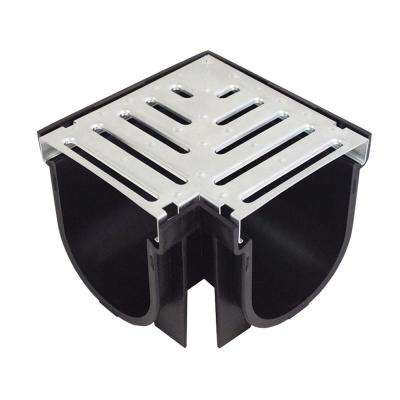 Easy Drain Series 90° Corner for 5.4 in. Deep Trench and Channel Drain System in Black with Galvanized Steel Grate