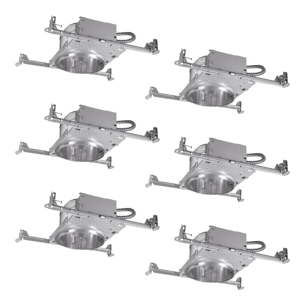 Halo 6 in. Aluminum Recessed Lighting Housing for New Construction Shallow Ceiling, Insulation Contact, Air-Tite (6-Pack)