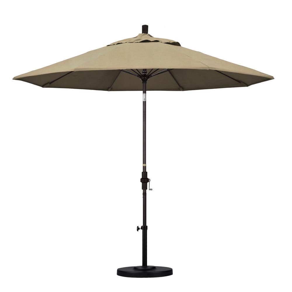 9 ft. Bronze Aluminum Market Patio Umbrella with Fiberglass Ribs Collar Tilt Crank Lift  in Heather Beige Sunbrella