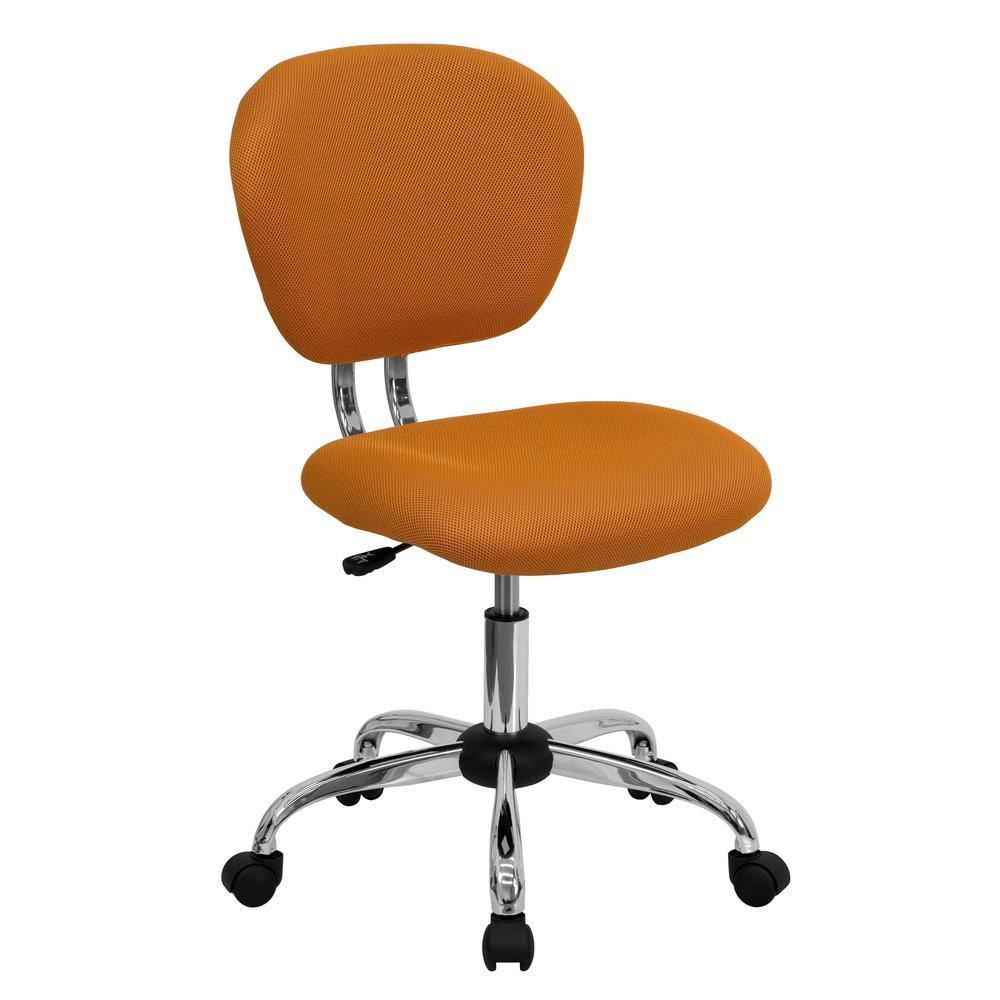 mid back orange mesh swivel task chair with chrome base