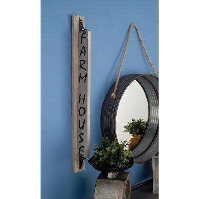 "3 in. x 35 in. Wood and Metal ""Farm House"" Wall Sign"