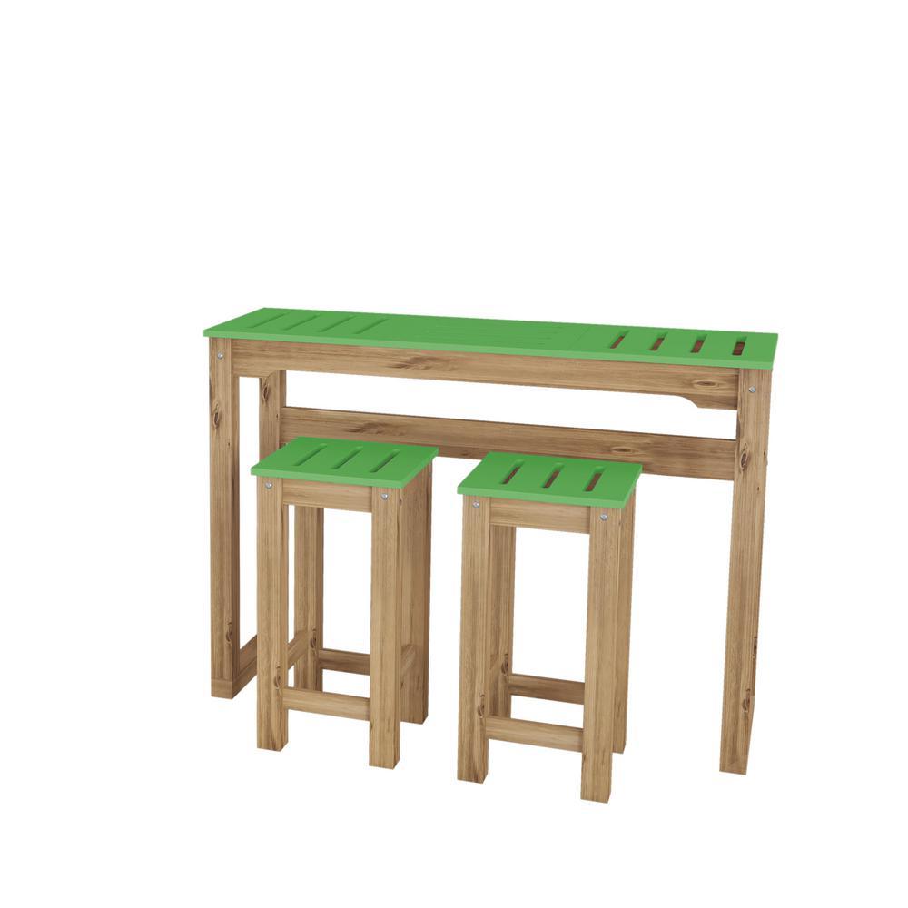 Stillwell 47.3 in. 3-Piece Green and Natural Wood Bar Kitchen Set