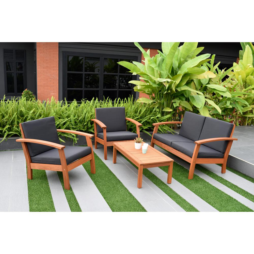 Giles 4-Piece Eucalyptus Patio Deep Seating Set with Black Cushions