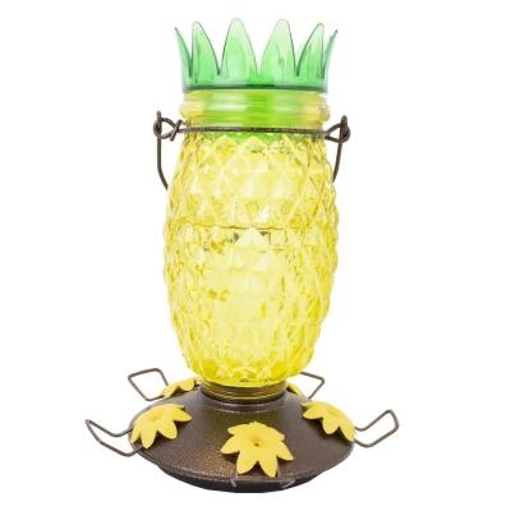 Pineapple Top-Fill Decorative Glass Hummingbird Feeder - 28 oz. Capacity
