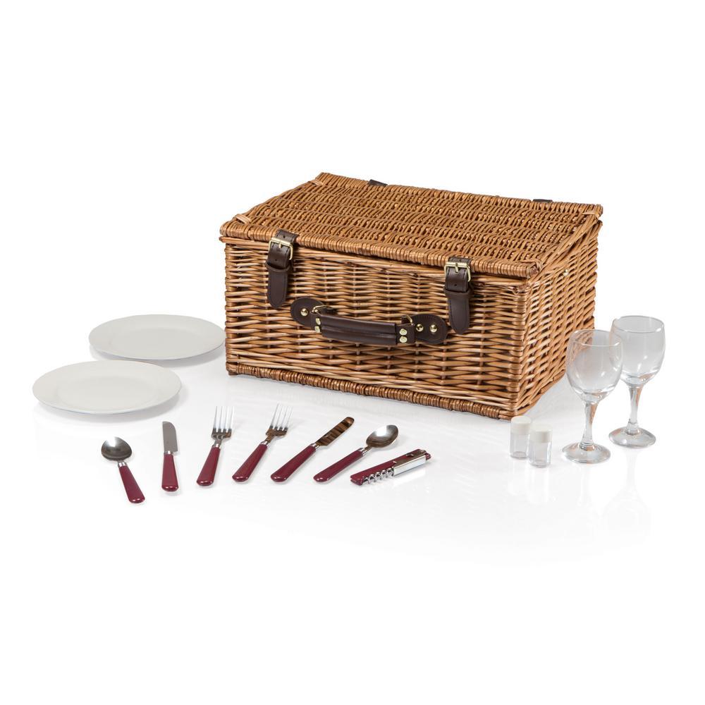 Bristol Wood Navy & Maroon Picnic Basket