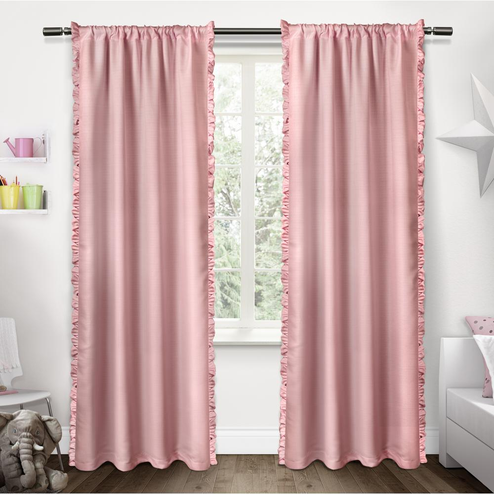 Ruffles Bubble Gum Pink Rod Pocket Top Window Curtain