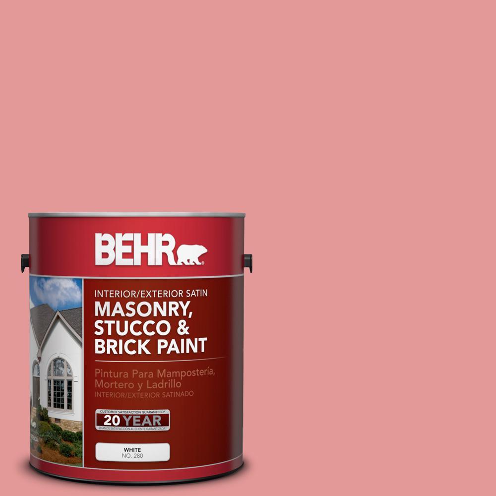 1 gal. #M160-4 She Loves Pink Satin Interior/Exterior Masonry, Stucco and Brick Paint
