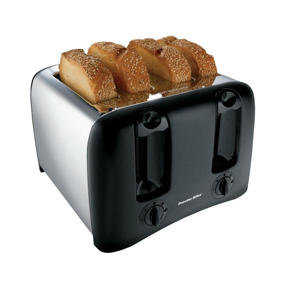 Proctor Silex 4-Slice Cool-Wall Toaster in Black/Chrome-DISCONTINUED