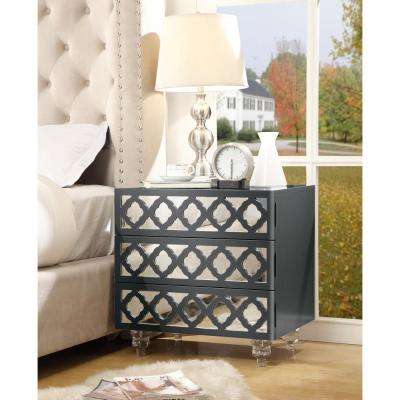 Francesca Dark Grey Lacquered Mirrored End Table Lucite Leg Nightstand