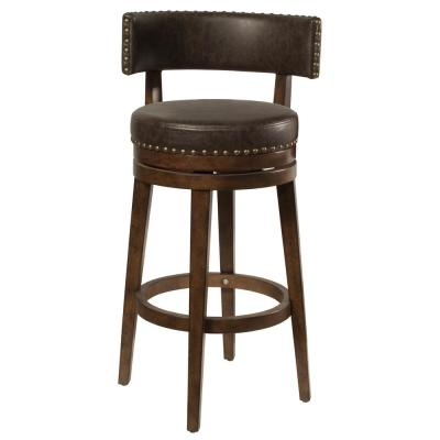 Lawton 26 in. Walnut Swivel Counter Stool