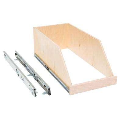 Made-To-Fit 8 in. High Side Slide-Out Shelf, 6 in. to 30 in. Wide, Full-Extension, Choice of Wood Front
