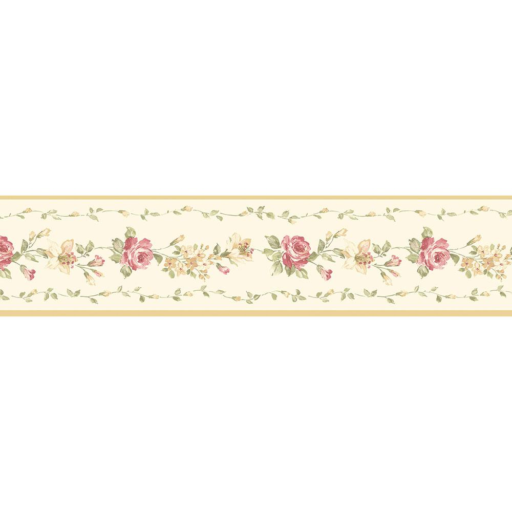 Norwall Red Rose Wallpaper Border Ivory Yellow Green