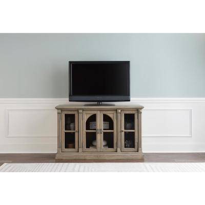 Townsend 54 in. Greige Wood TV Stand Fits TVs Up to 50 in. with Storage Doors
